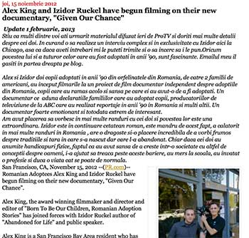 """Alex King and Izidor Ruckel have begun filming on their new documentary, """"Given Our Chance"""""""