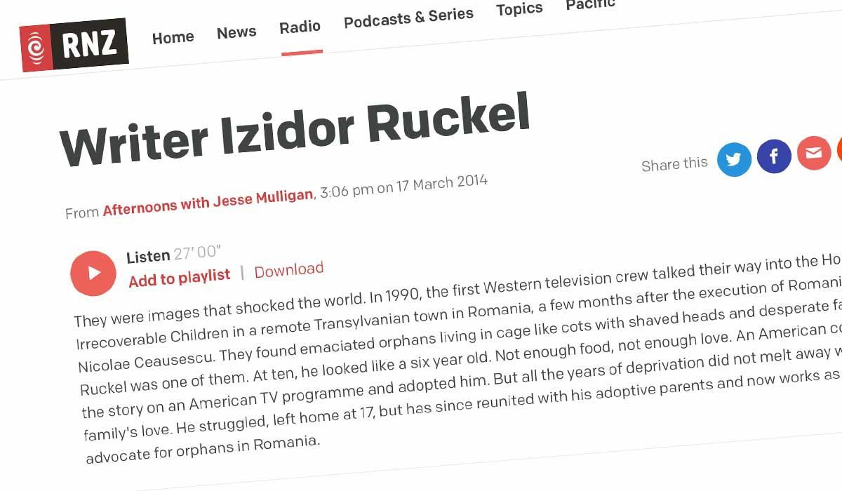Article about Izidor on Radio New Zealand website