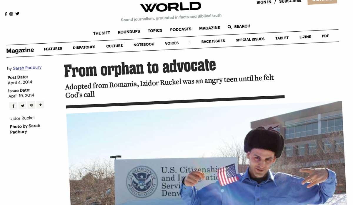 World Magazine article about Izidor