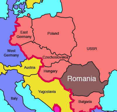 Europe 1989. The Iron Curtain (red line) is about to come down. Eastern Bloc countries shown in red, NATO countries in blue. Neutral countries in yellow.