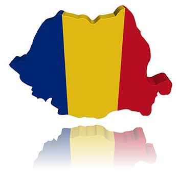 Outline of Romania with flag colors on it