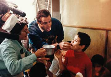 John Upton feeding Elena
