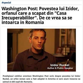 Washington Post- Povestea lui Izidor, orfanul care a scapat din Casa Irecuperabililor. De ce vrea sa se intoarca in Romania