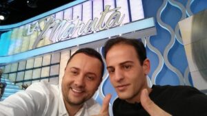 "TV Host Catalin Maruta and Izidor Ruckel on the set of ""La Maruta"""