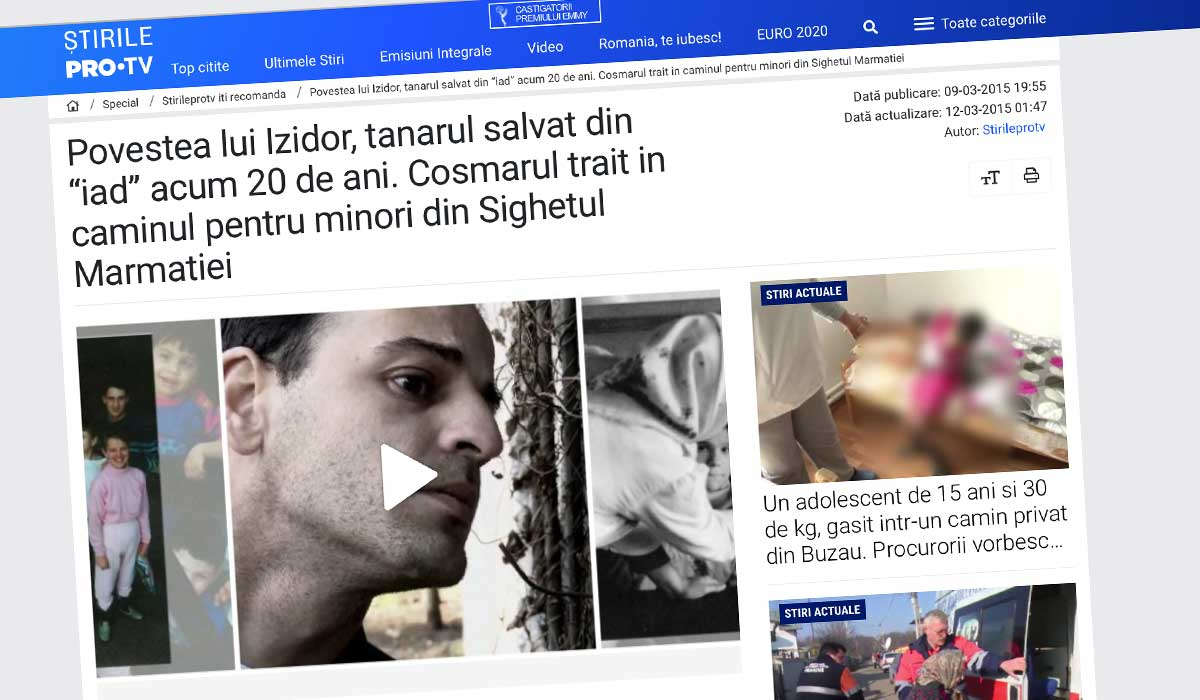 Article about Izidor on Stirile Pro TV website