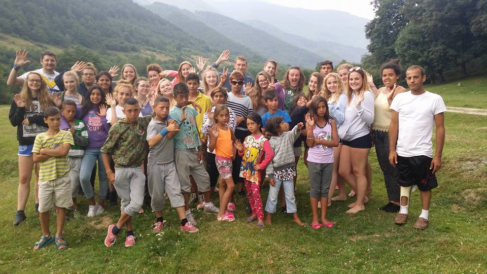 Izidor with children at summer camp