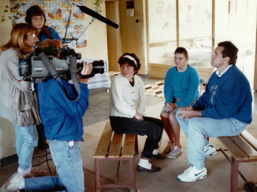 John interviewing children at orphanage