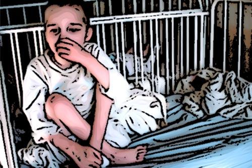 boy sitting in a crib, animated image