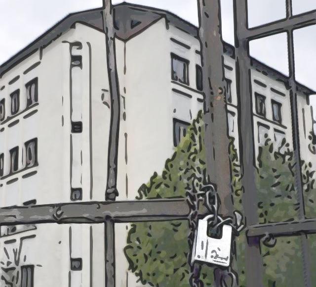 locked orphanage gate, animated image